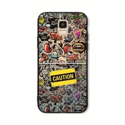 Zadný pevný kryt GLASS na Samsung J6 Caution