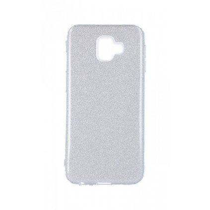 Zadný silikónový kryt na Samsung J6 + glitter strieborný