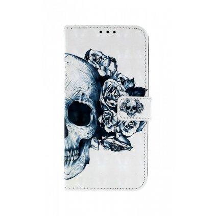 Flipové puzdro na Samsung J4 + Lebka s ružami lesklé