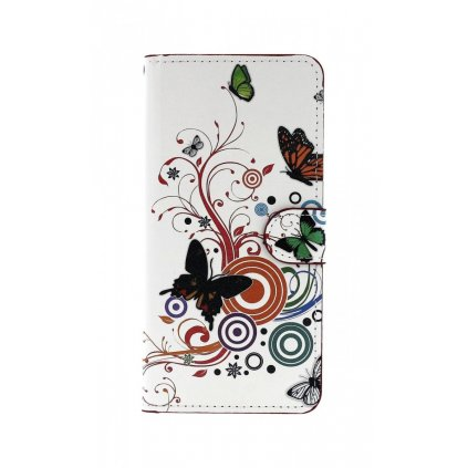 Flipové puzdro na Samsung J4 + Biele s motýlikmi
