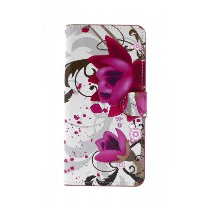 Flipové puzdro na Samsung J4 + Biele s kvetinou