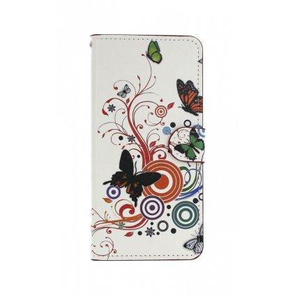Flipové puzdro na Samsung J6 + Biele s motýlikmi