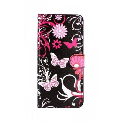 Flipové puzdro na Samsung J6 + Čierne s motýlikmi