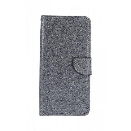 Flipové puzdro na Samsung J4 + glitter sivé