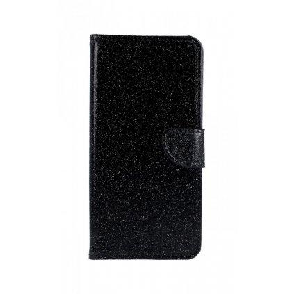 Flipové puzdro na Samsung J4 + glitter čierne