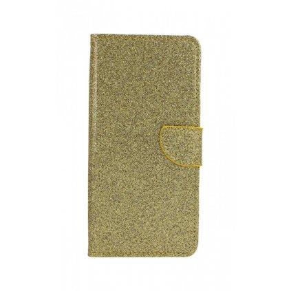 Flipové puzdro na Samsung J4 + glitter zlaté
