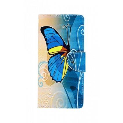 Flipové puzdro na Samsung J6 + Modrý motýlik