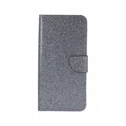 Flipové puzdro na Samsung J6 + glitter sivé