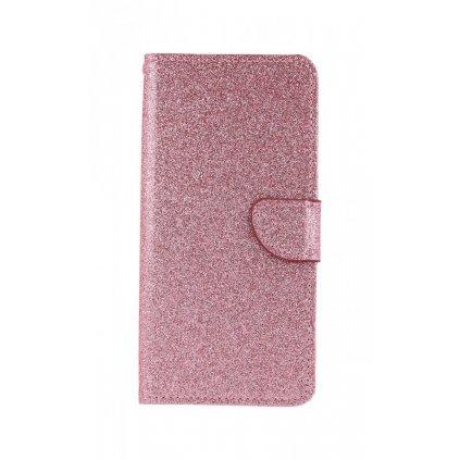 Flipové puzdro na Samsung J6 + glitter ružové