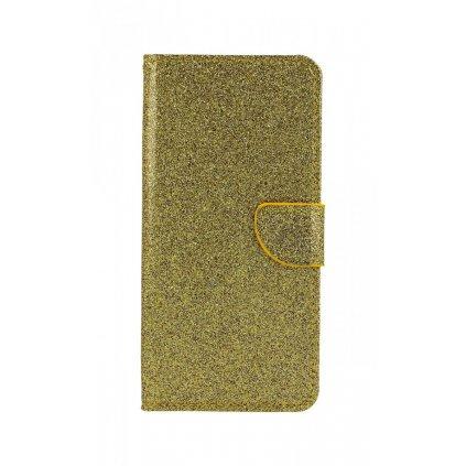 Flipové puzdro na Samsung J6 + glitter zlaté