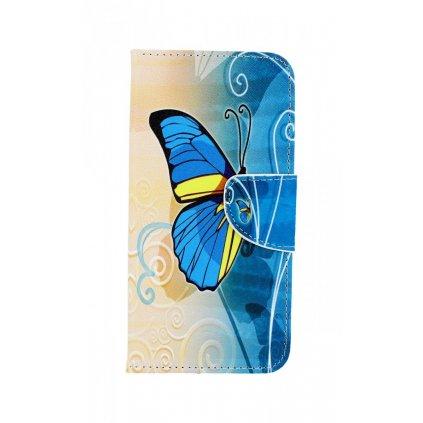 Flipové puzdro na Samsung A8 2018 Modrý motýlik
