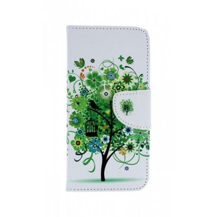 Flipové puzdro na Samsung A8 2018 Biele so stromom