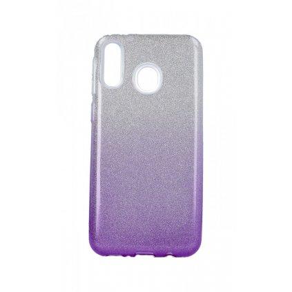 Zadný pevný kryt na Samsung M20 glitter strieborno-fialový