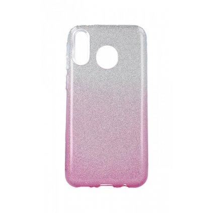 Zadný pevný kryt na Samsung M20 glitter strieborno-ružový
