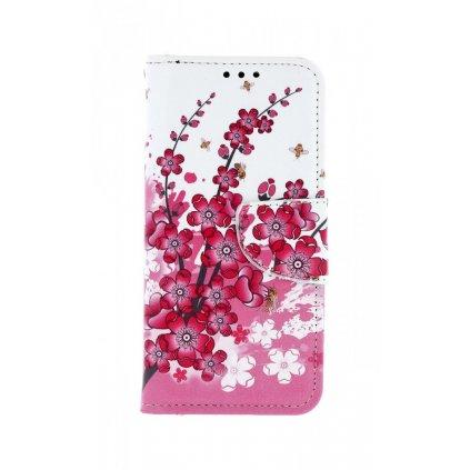 Flipové puzdro na Samsung A40 Kvety textil