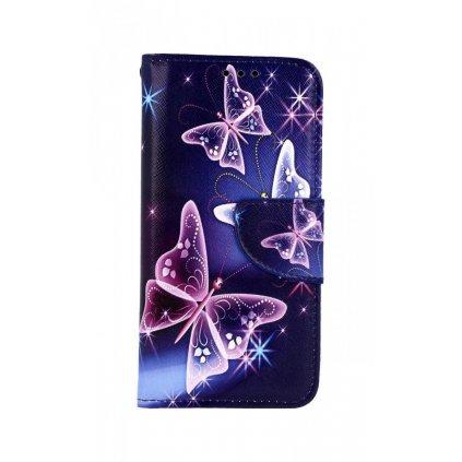 Flipové puzdro na Samsung A40 Modré s motýlikmi