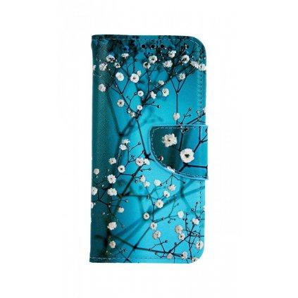 Flipové puzdro na Samsung A40 Modré s kvetmi