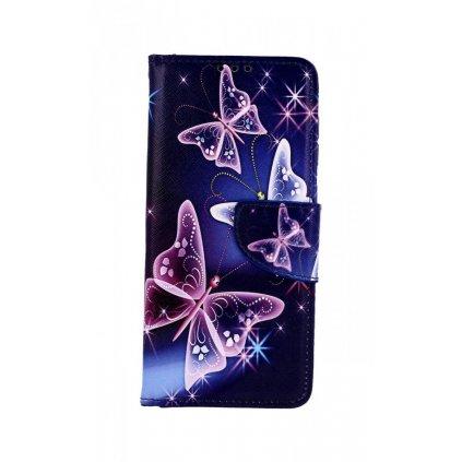 Flipové puzdro na Samsung A50 Modré s motýlikmi