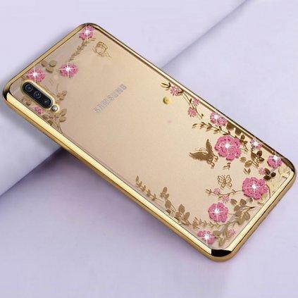 Zadný silikónový kryt na Samsung A50 zlatý s ružovými kvetmi