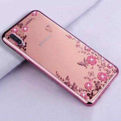 Zadný silikónový kryt na Samsung A50 ružový s ružovými kvetmi