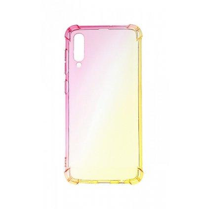 Zadný silikónový kryt na Samsung A50 Shock dúhový ružovo-žltý