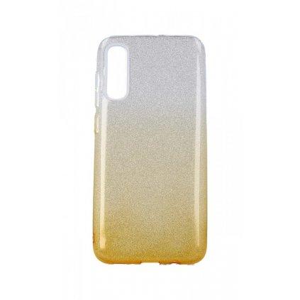 Zadný pevný kryt na Samsung A70 glitter strieborno-oranžový
