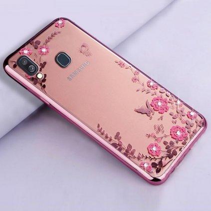 Zadný silikónový kryt na Samsung A40 ružový s ružovými kvetmi
