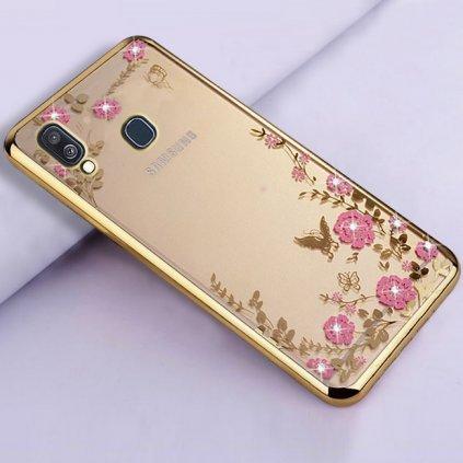 Zadný silikónový kryt na Samsung A40 zlatý s ružovými kvetmi