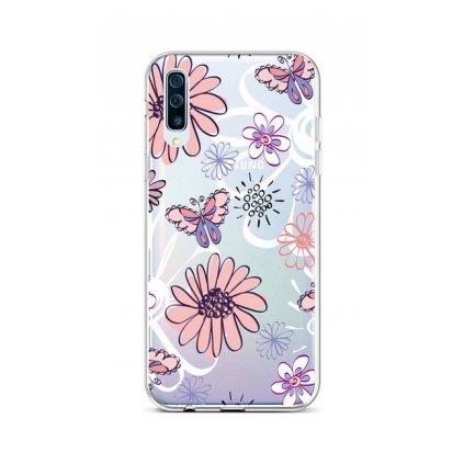 Zadný silikónový kryt na Samsung A50 Flowers