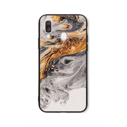 Zadný pevný kryt LUXURY na Samsung A40 Marble šedo-zlatý