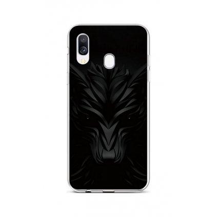 Zadný silikónový kryt na Samsung A40 Čierny vlk
