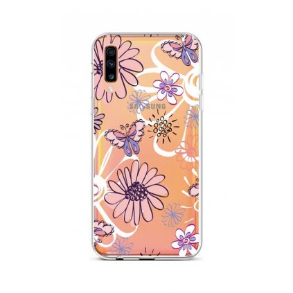 Zadný silikónový kryt na Samsung A70 Flowers