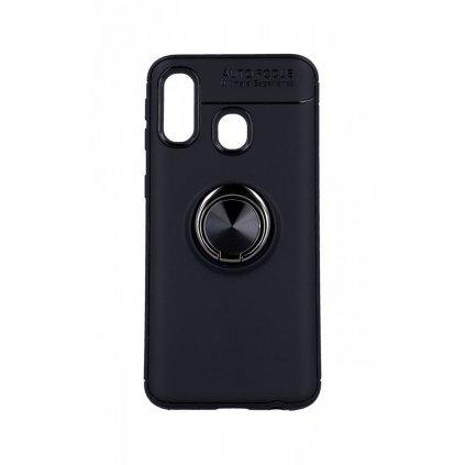 Zadný silikónový kryt na Samsung A40 čierny s čiernym prsteňom