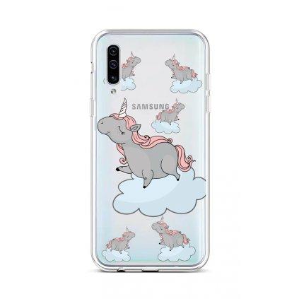 Zadný silikónový kryt na Samsung A50 Grey Unicorns