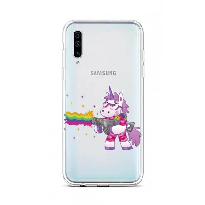 Zadný silikónový kryt na Samsung A50 Rainbow Gun