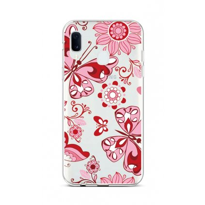 Zadný silikónový kryt na Samsung A20e Pink Butterfly