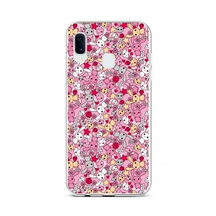 Zadný silikónový kryt na Samsung A20e Pink Bunnies