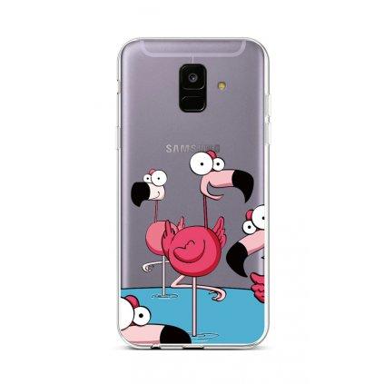 Zadný silikónový kryt na Samsung A6 Cartoon Flamingos