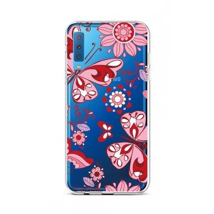 Zadný silikónový kryt na Samsung A7 Pink Butterfly