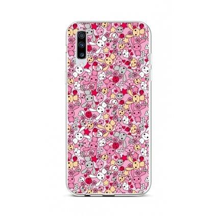 Zadný silikónový kryt na Samsung A70 Pink Bunnies