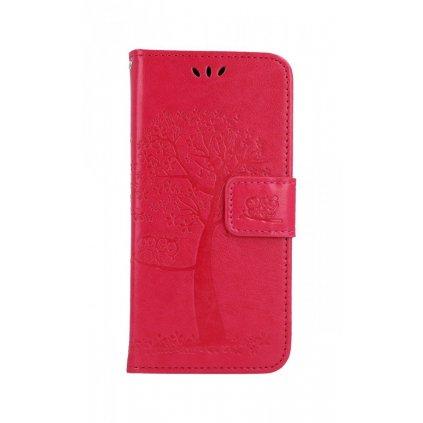 Flipové puzdro na Samsung A20e Tmavo ružový strom sovičky