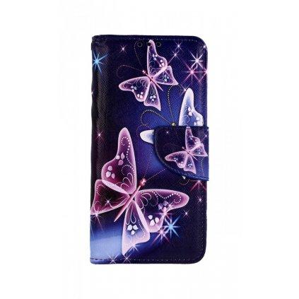 Flipové puzdro na Samsung A20e Modré s motýlikmi