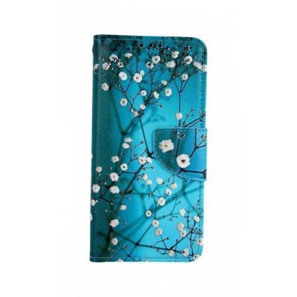 Flipové puzdro na Samsung A20e Modré s kvetmi