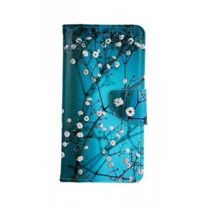 Flipové púzdro na Samsung A10 Modré s kvetmi