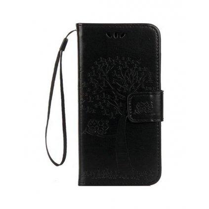 Flipové puzdro na Huawei P10 Lite Čierny strom sovičky