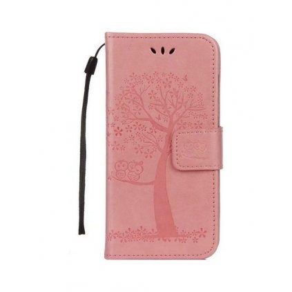 Flipové puzdro na Huawei P10 Lite ružový strom sovičky