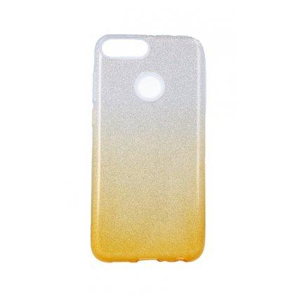 Zadný pevný kryt na Huawei P Smart glitter strieborno-oranžový