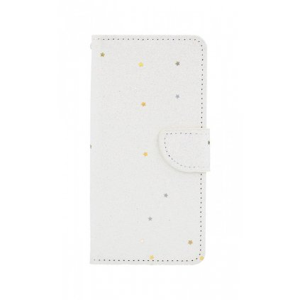 Flipové puzdro na Huawei Y5 2018 glitter biele s hviezdičkami