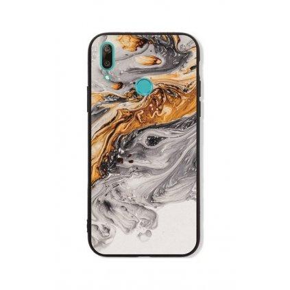 Zadný pevný kryt LUXURY na Huawei Y7 2019 Marble šedo-zlatý