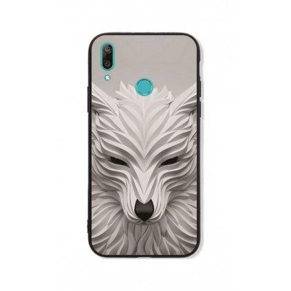 Zadný pevný kryt LUXURY na Huawei Y7 2019 Biely vlk